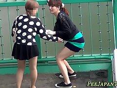 Asian whore pees panties