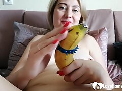 Lonely mom uses a banana on herself